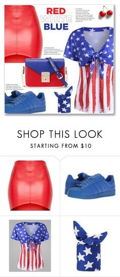 """""""Red, White & Blue :: Sporty Chic"""" by jecakns ❤ liked on Polyvore featuring adidas Originals, WithChic, casual, redwhiteandblue, sporty, americanflag and fourthofjuly"""