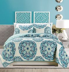 Amazon.com: 3-Piece Fine printed Quilt Set Reversible Bedspread Coverlet FULL / QUEEN SIZE Bed Cover (Turquoise, Blue, White, Green, Yellow): Home & Kitchen