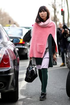 Susie Bubble in pink. #streetstyle at Paris Fashion Week Fall 2014 #PFW