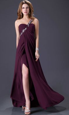 Solid Oblique One -Shoulder Beaded Ruched  Side Slit Chiffon Maxi Dress