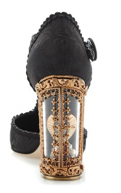 Black Jacquard T-Strap Mary Jane With Window Pane Pump by Dolce & Gabbana for Preorder on Moda Operandi