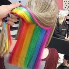 Hidden Rainbow Hair pastel hair 12 Hairstyles And Hair Trends You Need To Try In 2018 Hidden Hair Color, Hair Color Dark, Cool Hair Color, Popular Hairstyles, Cool Hairstyles, Rainbow Hairstyles, Hairstyles 2018, Latest Hairstyles, Braided Hairstyles