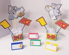 Personalized Tom and Jerry tent cards Happy Birthday Banners, Birthday Decorations, Cute Pizza, Seating Cards, High Chair Banner, Tent Cards, Tom And Jerry, Minnie Mouse Party, Party Centerpieces