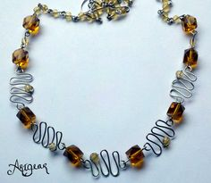 New wave necklace with citrine. $20.00