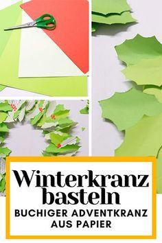 Bastle deine eigene buchige Weihnachtsdeko aus Papier. Mit nur wenigen Materialien kannst du ganz einfach deinen eigenen Winterkranz basteln und als Dekoration für die Türe oder als Adventkranz benutzen. Advent, Herbs, Symbols, Letters, Colored Paper, Simple, Old Book Pages, Second Life