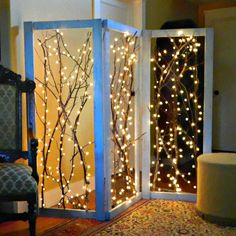 DIY LED String Lights Twinkling Branches Room Divider. It's kind of a lamp! Definitely funky. I'd use it nightly; must make.