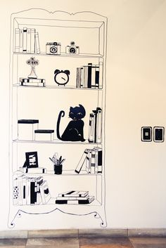 lovely illustrations on the wall by Domitila de Paulo (Não Contém Glúten) {via Casa Aberta}