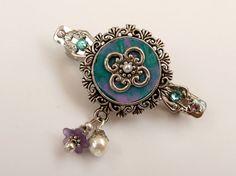 Kleine Haarspange mit Ornament in türkis rosa von Schmucktruhe