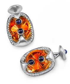 Radiant Citrine Cufflinks - Mark Schneider Design, Platinum cufflinks with gold accents featuring a and a citrine, accented with blue cabachon sapphires and of white diamonds. Men's Jewelry, Gemstone Jewelry, Jewelry Design, Jewellery, Vintage Cufflinks, Men's Cufflinks, Wedding Venue Inspiration, Couple Gifts, Engagement Couple