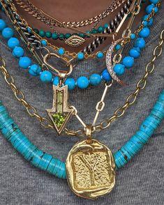 #necklace #necklacestack #jewelry #jewelrytrends #jewelrydesign #jewelryforwomen #turqoise #goldjewelry #vintagejewelry #finejewelry Gold Jewelry, Vintage Jewelry, Fine Jewelry, Women Jewelry, Layering Trends, Fashion Necklace, Fashion Jewelry, Layered Jewelry, Jewelry Trends