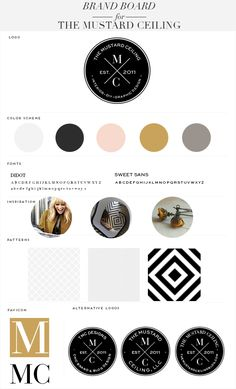 great use of Didot, clean color palette Brand Board The Mustard Ceiling, LLC