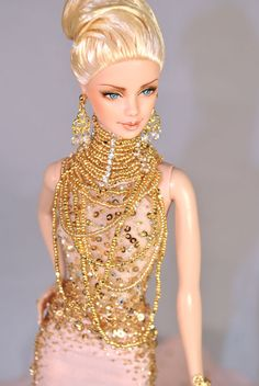 I like the necklace on this one. Golden Dream ooak barbie by Magia2000