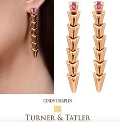 Rose gold articulated chevron spike #earrings set with #rubies very #unique from the 1940's they are available at Turnerandtatler.com