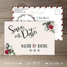 Winter Wedding Save the Date Postcard  • Wreath • 'Tis the Season to be Married • Custom Wedding • D