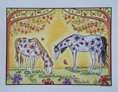 """""""Indian Summer"""" ~ Polychrome Pencils & a tiny bit of Signo Pen. From The Wonderful World of Horses, Edition by Simone Phillips Horse Coloring Pages, Indian Summer, Wonders Of The World, Moose Art, Tapestry, Horses, Illustration, Artwork, Animals"""