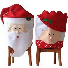 Mr. Mrs Santa Claus Christmas Banquet Chair Back Cover Xmas Party Home Decor