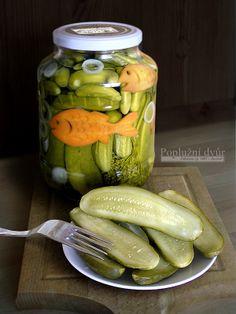 okurky z Poplužního dvora  www.popluznidvur.cz Root Cellar, Preserves, Pickles, Homesteading, Cucumber, Pantry, Food And Drink, Homemade, Canning