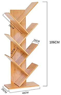 Simple Bamboo Bookshelves Multi - Storey Dormitory Children 's Storage Rack Student Bookcase (Size : 4 Layer) Diy Bookshelf Design, Creative Bookshelves, Bookshelf Desk, Wall Shelves Design, Bookcase Storage, Storage Rack, Unique Wall Shelves, Diy Home Crafts, Diy Home Decor