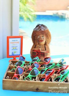 Awesome idea for Party favors for beach themed sweet 16- sunglasses!