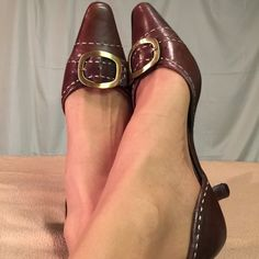 Liz Claiborne Leather Gold Buckle Heels These shoes were gently worn and are in great condition. The heel height is 2 inches. Liz Claiborne Shoes Heels