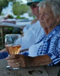 """An old woman was sipping on a glass of wine, while sitting on the patio with her husband, and she says """"I love you so much, I don't know how I could ever live without you...""""  Her husband asks, """"Is that you or the wine talking?""""  She replies, """"It's me...talking to the wine."""""""