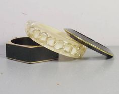 Vintage 1980s Plastic Bangles Lucite Bangle with Chain