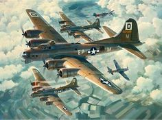 Vintage Aircrafts Fortresses Engaged by Keith Ferris- Flying Fortress- Aviation Art Prints Ww2 Aircraft, Military Aircraft, Military Art, Military History, B 17, Aircraft Painting, War Thunder, Airplane Art, Nose Art