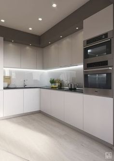"""For a small kitchen """"spacious"""" it is above all a kitchen layout I or U kitchen layout according to the configuration of the space. Kitchen Room Design, Luxury Kitchen Design, Kitchen Cabinet Design, Kitchen Layout, Home Decor Kitchen, Interior Design Kitchen, New Kitchen, Home Kitchens, Kitchen Lamps"""