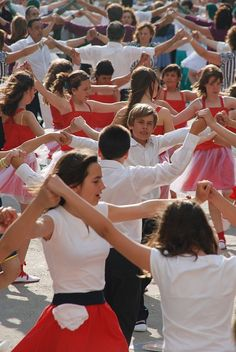 Sardana - Groups of children and adults performing a sardana. #barcelona #dance