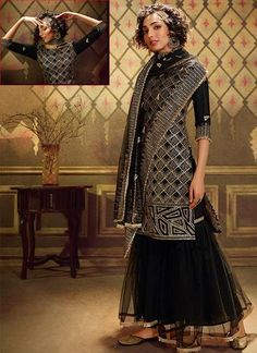 lack Wedding Sangeet Sharara Suit Net SF503SD Fall in love with this gorgeous fully zari work Sharara suit salwar kameez with dupatta. Sangeet night becomes extraordinary special when you have stylish Palazzo suits. 100% Original Sharara Suit, Salwar Kameez, Palazzo Suit, Daughter, Sequins, Photoshoot, Night, Stylish, Fall