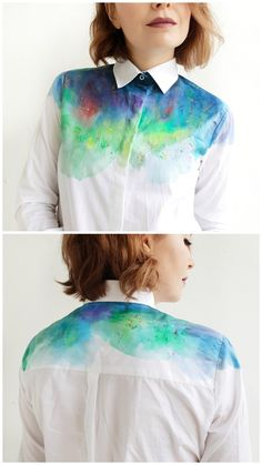 Hand dyed rainbow blouse Women handmade blouse Rainbow paint buttons up shirt Colorful shirt Unique women shirt Rainbow blouse - DIY Clothes Ideen Diy Fashion, Fashion Outfits, Fashion Design, Club Fashion, Tumblr Shirt, Shirt Diy, Rainbow Outfit, Look Boho, Tie Dye Shirts