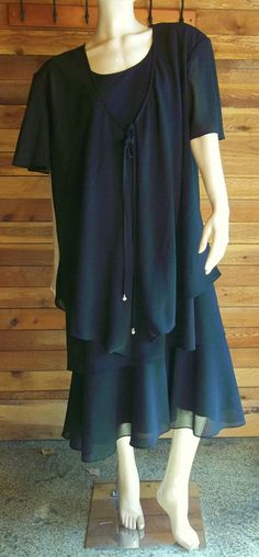 DRESSBARN BLACK SZ 24W DRESS and MATCHING JACKET SET #DRESSBARN #Tiered #Formal