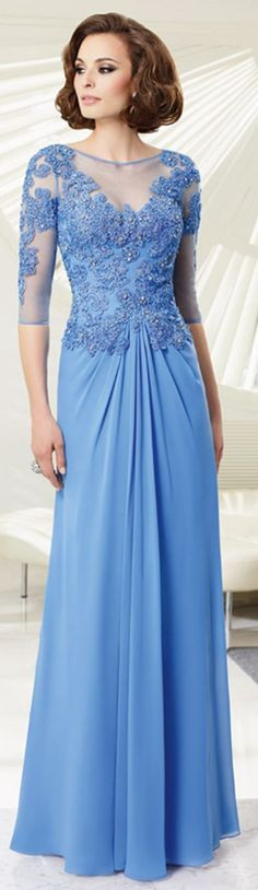 Elegant A-line Bateau Half Sleeve Crystal Detailing Ruching Floor-length Chiffon Mother of the Bride Dresses