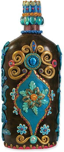 Joan Israel's bottles are like jeweled artifacts (-polymer clay creation Fimo Clay, Polymer Clay Projects, Polymer Clay Creations, Polymer Clay Art, Polymer Clay Jewelry, Bottle Painting, Bottle Art, Bottle Crafts, Rum Bottle