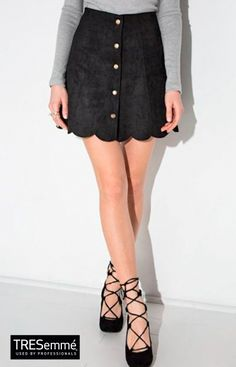 0a5916fbea Black scallop hem faux suede mini skirt featuring woven fabric, high-rise  waist, a-line shape, button down front, and back zip fastening.