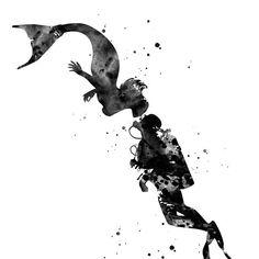 'Mermaid kissing a sea diver' by erzebetth Navy Seal Tattoos, Dove Tattoos, Baby Tattoos, Body Art Tattoos, Skull Tattoos, Flower Tattoos, Butterfly Tattoos, Sleeve Tattoos, Mermaid Drawings