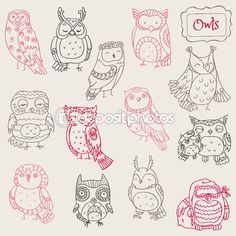 Various Owl Doodle Collection - hand drawn - in vector — Stock Illustration