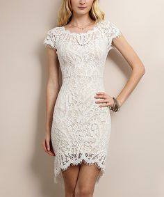 Look at this Soiéblu White Scallop Lace Short-Sleeve Bodycon Dress on #zulily today!