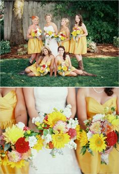 yellow bridesmaid dresses with cowgirl boots #yellowwedding #bridesmaidsinboots #weddingchicks http://www.weddingchicks.com/2014/01/13/summertime-country-wedding/