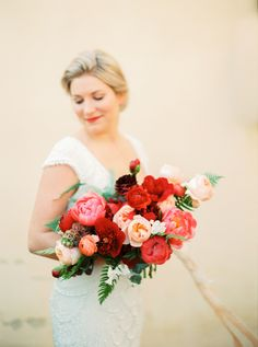 Romantic red and pink peony bouquet: Photography : Katja Scherle Read More on SMP: http://www.stylemepretty.com/destination-weddings/2016/07/14/tropical-elegant-wedding-shoot/