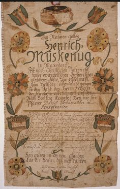 Illustrated family record (Fraktur) found in Revolutionary War Pension and Bounty-Land-Warrant Application File S47525, for Henry Mooskenug, Pennsylvania., ca. 1800 - ca. 1900