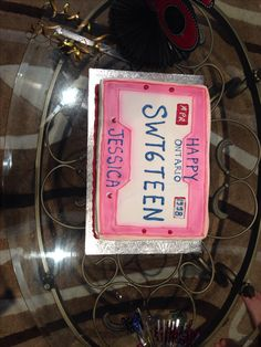 My sixteenth birthday cake! In the form of an Ontario license plate.