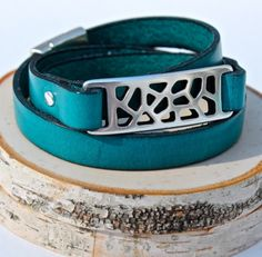 Turquoise Leather Triple Wrap Bracelet
