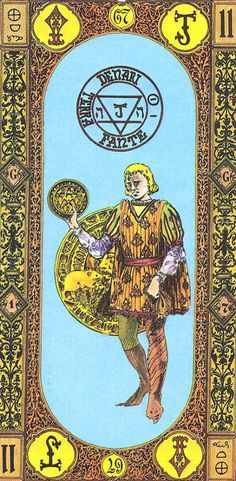 Page of Coins - Tavaglione Tarot - The Stairs of Gold Tarot by Giorgio Tavaglione Page Of Pentacles, Modern Deck, Online Tarot, Experiential Learning, Coin Card, Tarot Card Meanings, Missing Piece, Wow Art, Tarot Reading