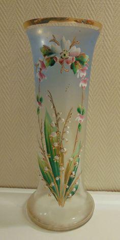 Ancien vase vert verre émaillé Legras en cristal motifs fleurs de muguet