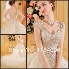 Free Shipping !! 2014 white/ivory Ball Gown cap sleeve wedding dress HK-813 $479.99