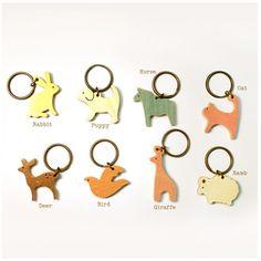 wooden animal keychains