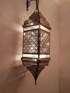 What decor over the bed? Moroccan Chandelier, Moroccan Lighting, Moroccan Lamp, Moroccan Lanterns, Moroccan Design, Sconce Lighting, Lighting Design, Copper Lampshade, Lampe Decoration