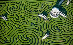 Longleat's Maze is nearly two miles of paths and the largest in Britain. From the air it looks like a puzzle book. Britain from Above: Month by Month published by Dorling Kindersley  Picture: Jason Hawkes