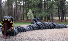 Recycled tire playground equipment